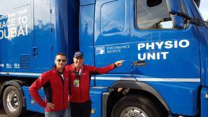 Damien Grison, visite du Physio Bus de l'European Tour